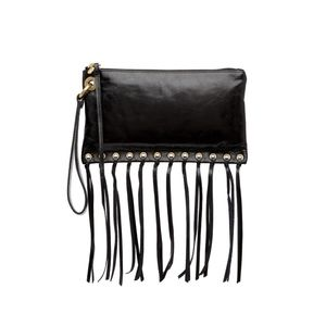 Hobo CASS leather fringe wristlet clutch BLACK